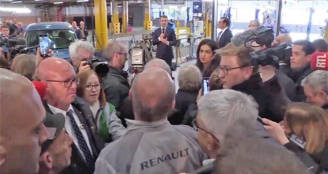 Bronca entre Macron y un sindicalista de Renault